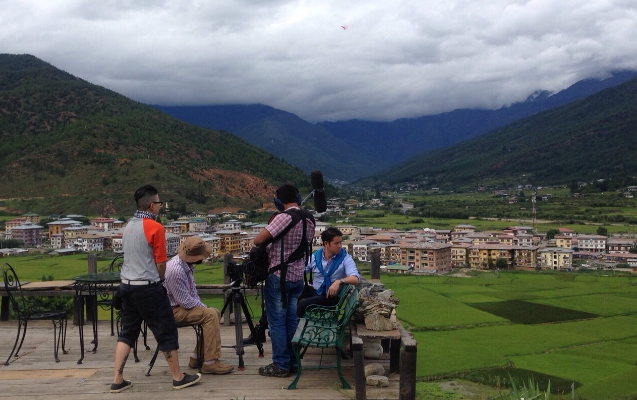 Filming the final scene of City Time Travellers 2 - Bhutan in Paro - over looking Paro Valley