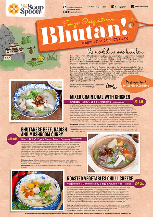Souper Inspirations Bhutan! Mixed Grain Dhal with Chicken/ Bhutanese Beef Radish and mushroom curry.  Roasted Vegetables Chilli Cheese.
