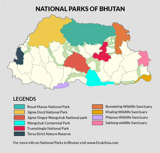 Map Of Asia Bhutan.Natural Parks And Protected Areas In Bhutan