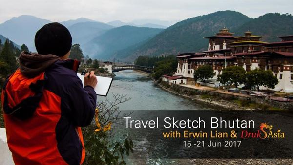 Travel Sketch to Bhutan with Erwin and Drukasia